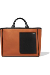 Valextra Shopping Leather Trimmed Canvas Tote Orange