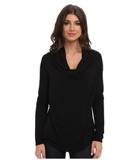 Michael Stars Lycra Jersey L S Drape Neck Black Women's Long Sleeve Pullover