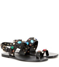 Tomas Maier Crystal Embellished Leather Sandals Black