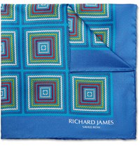 Richard James Printed Silk Twill Pocket Square Bright Blue