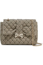 Red Valentino Redvalentino Quilted Point D'espirit And Canvas Shoulder Bag Black
