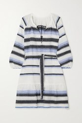 Lemlem Aster Belted Striped Cotton Jacquard Mini Dress Blue