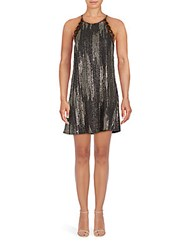Collective Concepts Embellished Sleeveless Shift Dress Black Gold