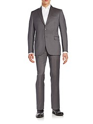 Saks Fifth Avenue Slim Fit Tonal Shadow Striped Wool And Silk Suit Taupe