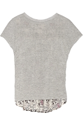 Thakoon Jersey And Printed Eyelet Cotton Top