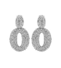 Oscar De La Renta Beaded Clip On Earrings Silver