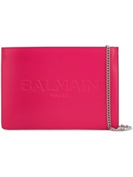 Balmain Embossed Logo Clutch Bag Pink And Purple