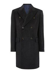 New And Lingwood Men's Belton Double Breasted Panel Detail Coat Charcoal