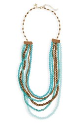 Panacea Women's Wood And Stone Beaded Multistrand Necklace