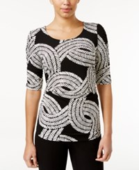 Alfani Printed Ruched Top Only At Macy's Modern Rope Black