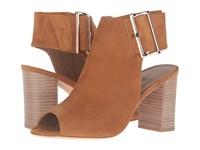 Vaneli Bisa Cuoio Suede Gold Buckle High Heels Brown