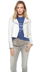 Re Named Faux Leather Moto Jacket White