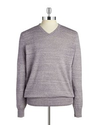 Black Brown Ribbed V Neck Sweater Dull Amethyst