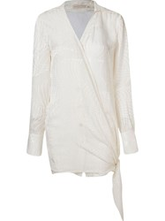 Giuliana Romanno Patterned Sheer Wrap Shirt White
