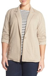Plus Size Women's Caslon One Button Knit Blazer Morel