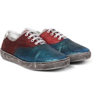 Marc Jacobs Distressed Metallic Suede Sneakers Petrol