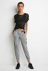 Forever 21 Marled Tuxedo Stripe Joggers Heather Grey Black