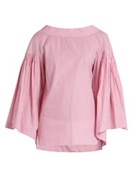 Teija Bell Sleeved Striped Cotton Top Light Pink