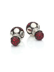 John Hardy Dot Red Sapphire And Sterling Silver Double Sided Stud Earrings Silver Red Sapphire