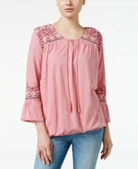 Styleandco. Style Co. Embroidered Peasant Top Only At Macy's East Escape Pink