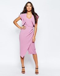 Asos Soft Bandeau Midi Pencil Dress With Crop Jacket Purple