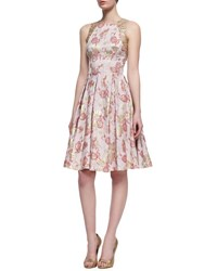 Carmen Marc Valvo Floral Print Sleeveless Golden Jacquard Dress Rose Gold
