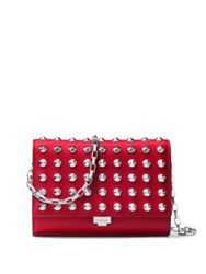 Michael Kors Yasmeen Small Studded Leather Clutch Crimson