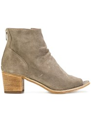 Officine Creative Open Toe Ankle Boots Leather Calf Suede Nude Neutrals