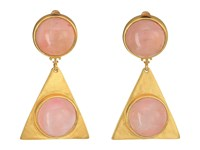 Tory Burch Triangle Stone Earrings Pink Quartz Vintage Gold Earring
