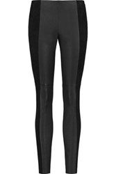 Michael Kors Collection Leather And Suede Leggings Black