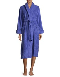 Lord And Taylor Plush Cotton Robe Baja Blue