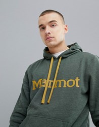 Marmot Hoodie With Chest Logo In Green Crocodile Heather
