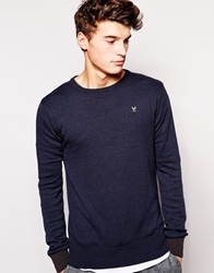 Ringspun Jumper With Crew Neck Navy