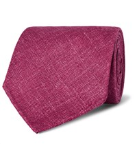 Drakes Drake's 8Cm Herringbone Wool Silk And Linen Blend Tie Plum