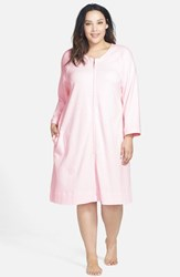 Plus Size Women's Carole Hochman Designs Zip Front Waffle Knit Robe Pink Ice