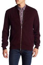 Peter Werth Long Sleeve Front Zip Knit Jacket Red