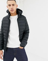 Only And Sons Hooded Quilted Jacket Dark Navy