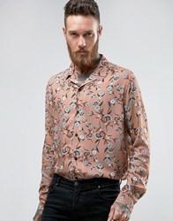 Asos Regular Fit Viscose Shirt With Revere Collar And Floral Print Pink