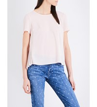 French Connection Pleated Crepe Top Capri Blush