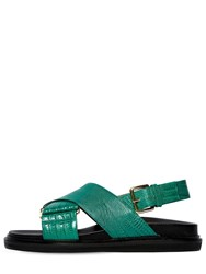 Marni 30Mm Crisscross Embossed Leather Sandals Green
