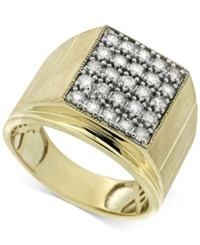 Macy's Men's Diamond Matrix Ring 1 Ct. T.W. In 10K Gold White