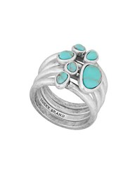 Lucky Brand California Gardens Turquoise Semi Precious Calcite Stacked Ring Silver