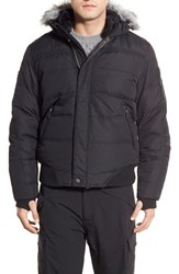 Men's Point Zero Water Resistant Hooded Down Parka With Faux Fur Trim Black