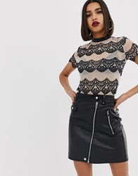 Morgan Allover Contrast Lace Top In Multi Stripe