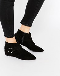 Asos Apple Harness Detail Pointed Boots Black