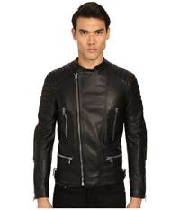 Philipp Plein Leather Motor Jacket Black Men's Coat
