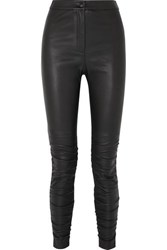 Alexander Wang T By Ruched Stretch Leather Skinny Pants Black