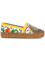 Dolce And Gabbana Leopard Majolica Print Espadrilles Leather Silk Raffia Rubber Multicolour