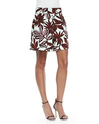 Etro Palm Print Pleated Shorts Mint Rust