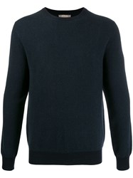 N.Peal Cable Crew Neck Sweater Blue